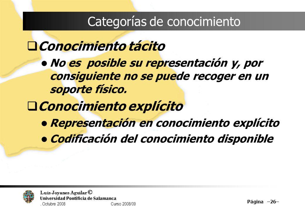 Luis Joyanes Aguilar © Universidad Pontificia de Salamanca. Octubre 2008 Curso 2008/09 Página –26– Categorías de conocimiento Conocimiento tácito No e