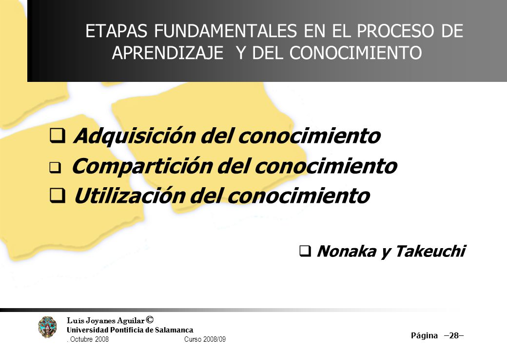 Luis Joyanes Aguilar © Universidad Pontificia de Salamanca. Octubre 2008 Curso 2008/09 Página –28– ETAPAS FUNDAMENTALES EN EL PROCESO DE APRENDIZAJE Y