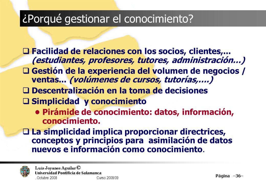Luis Joyanes Aguilar © Universidad Pontificia de Salamanca. Octubre 2008 Curso 2008/09 Página –36– ¿Porqué gestionar el conocimiento? Facilidad de rel
