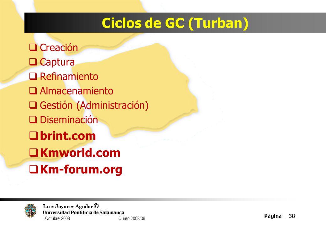 Luis Joyanes Aguilar © Universidad Pontificia de Salamanca. Octubre 2008 Curso 2008/09 Ciclos de GC (Turban) Creación Captura Refinamiento Almacenamie
