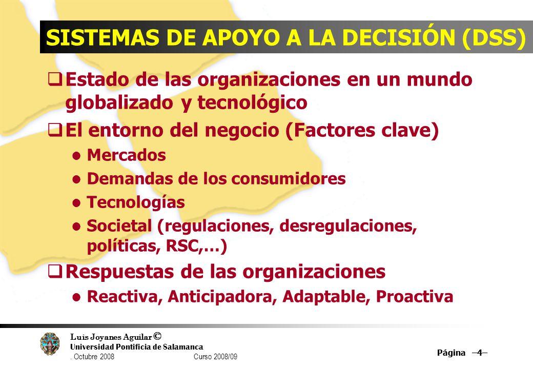 Luis Joyanes Aguilar © Universidad Pontificia de Salamanca. Octubre 2008 Curso 2008/09 Página –4– SISTEMAS DE APOYO A LA DECISIÓN (DSS) Estado de las