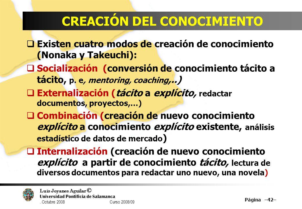 Luis Joyanes Aguilar © Universidad Pontificia de Salamanca. Octubre 2008 Curso 2008/09 CREACIÓN DEL CONOCIMIENTO Existen cuatro modos de creación de c