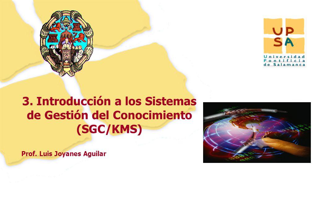 45 Prof. Luis Joyanes Aguilar 3. Introducción a los Sistemas de Gestión del Conocimiento (SGC/KMS)