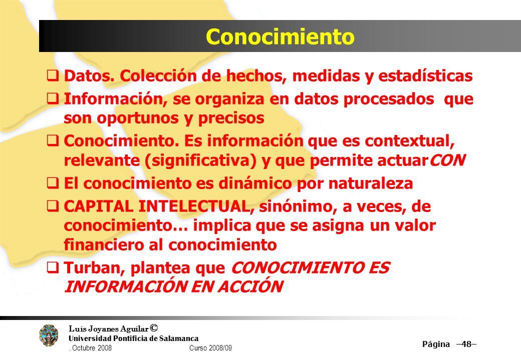 Luis Joyanes Aguilar © Universidad Pontificia de Salamanca. Octubre 2008 Curso 2008/09 Conocimiento Datos. Colección de hechos, medidas y estadísticas