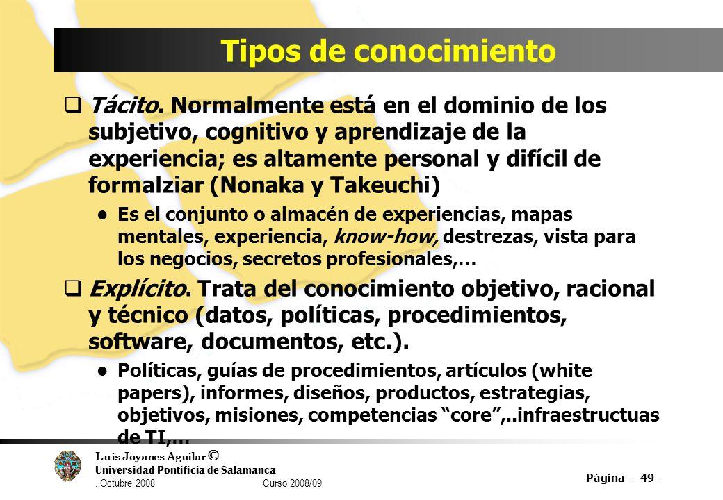 Luis Joyanes Aguilar © Universidad Pontificia de Salamanca. Octubre 2008 Curso 2008/09 Tipos de conocimiento Tácito. Normalmente está en el dominio de