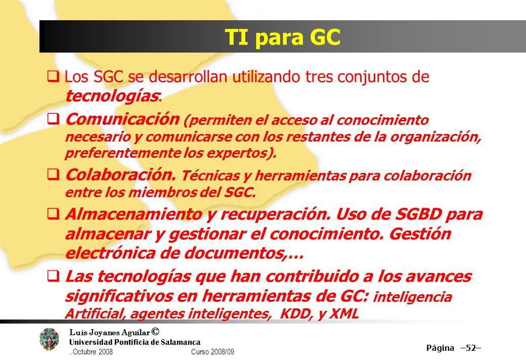 Luis Joyanes Aguilar © Universidad Pontificia de Salamanca. Octubre 2008 Curso 2008/09 TI para GC Los SGC se desarrollan utilizando tres conjuntos de