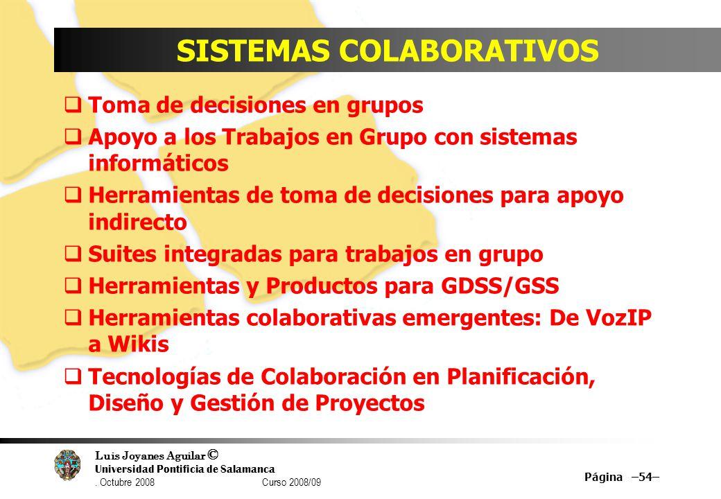 Luis Joyanes Aguilar © Universidad Pontificia de Salamanca. Octubre 2008 Curso 2008/09 SISTEMAS COLABORATIVOS Toma de decisiones en grupos Apoyo a los