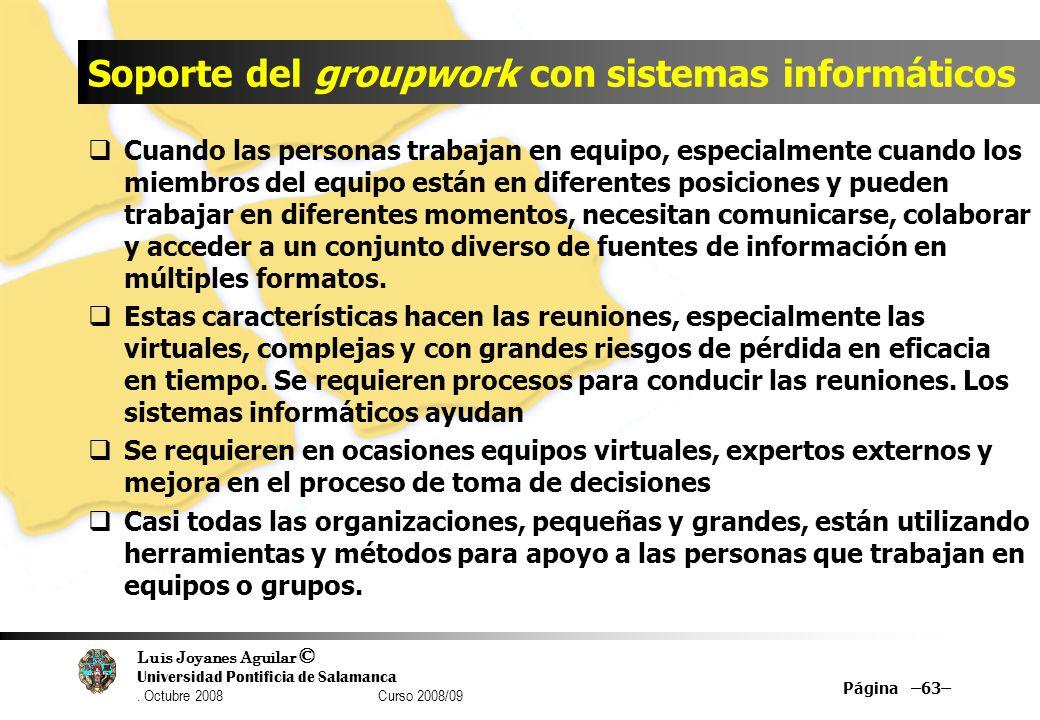 Luis Joyanes Aguilar © Universidad Pontificia de Salamanca. Octubre 2008 Curso 2008/09 Soporte del groupwork con sistemas informáticos Cuando las pers