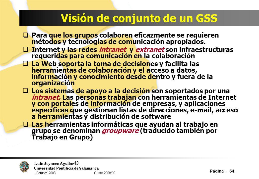 Luis Joyanes Aguilar © Universidad Pontificia de Salamanca. Octubre 2008 Curso 2008/09 Visión de conjunto de un GSS Para que los grupos colaboren efic