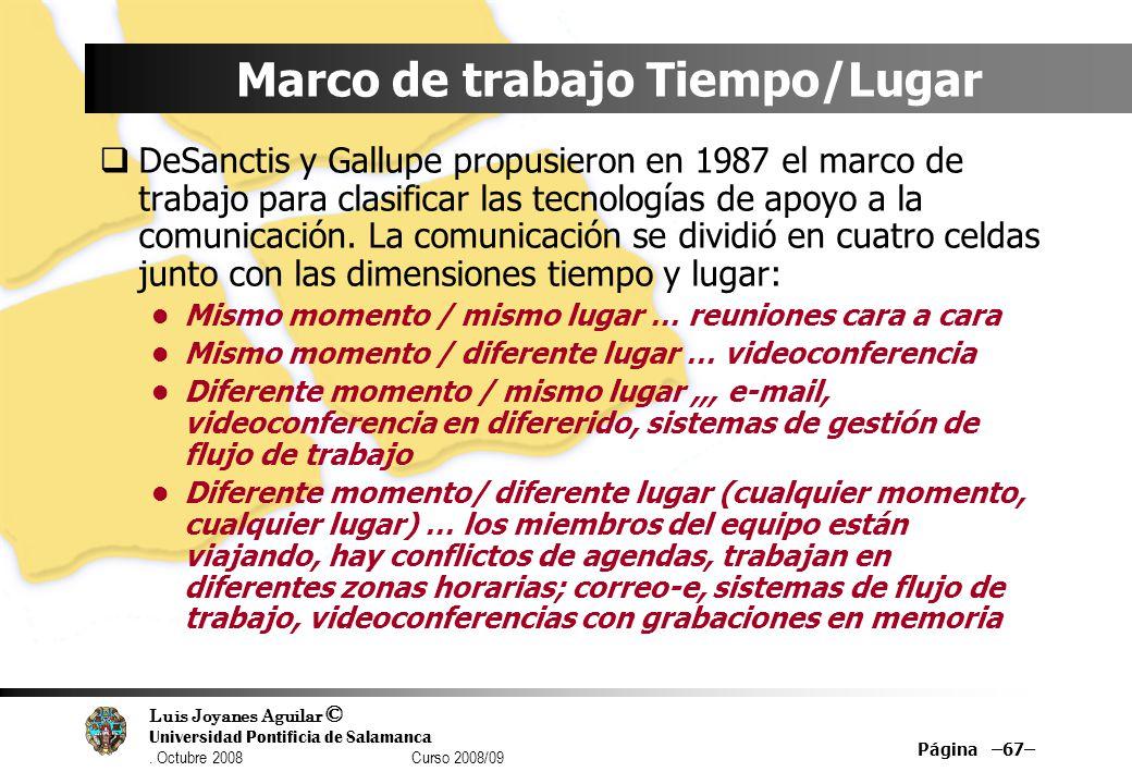 Luis Joyanes Aguilar © Universidad Pontificia de Salamanca. Octubre 2008 Curso 2008/09 Marco de trabajo Tiempo/Lugar DeSanctis y Gallupe propusieron e
