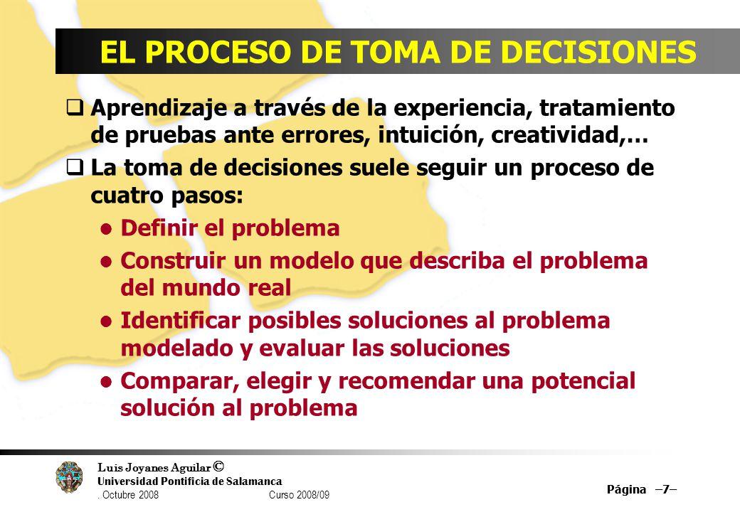 Luis Joyanes Aguilar © Universidad Pontificia de Salamanca. Octubre 2008 Curso 2008/09 Página –7– EL PROCESO DE TOMA DE DECISIONES Aprendizaje a travé