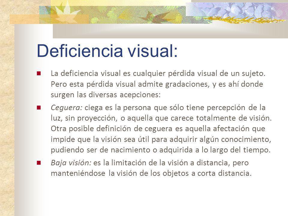 Deficiencia visual: La deficiencia visual es cualquier pérdida visual de un sujeto. Pero esta pérdida visual admite gradaciones, y es ahí donde surgen