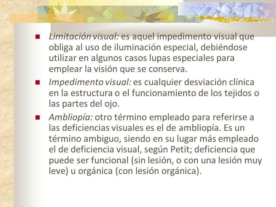 Limitación visual: es aquel impedimento visual que obliga al uso de iluminación especial, debiéndose utilizar en algunos casos lupas especiales para e