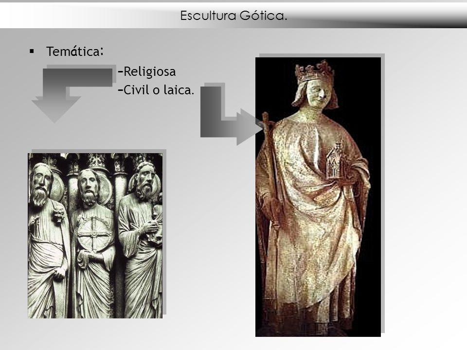 Escultura Gótica. Tem á tica : – Religiosa – Civil o laica.