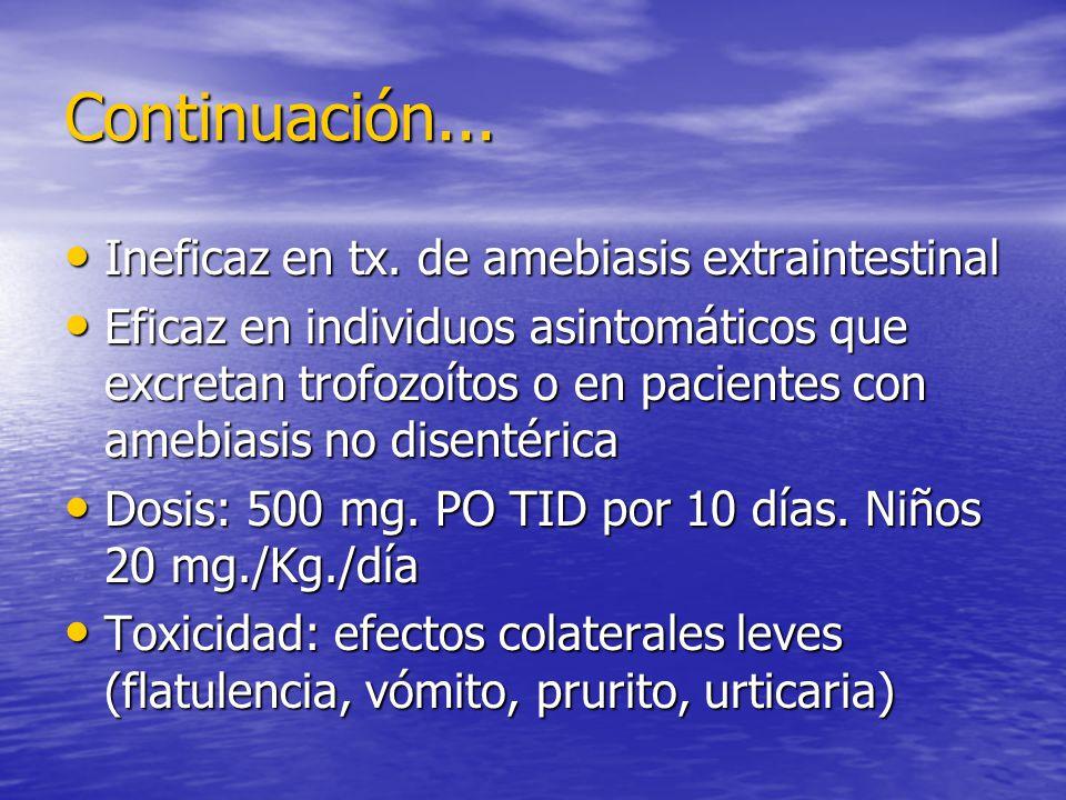Continuación... Ineficaz en tx. de amebiasis extraintestinal Ineficaz en tx. de amebiasis extraintestinal Eficaz en individuos asintomáticos que excre