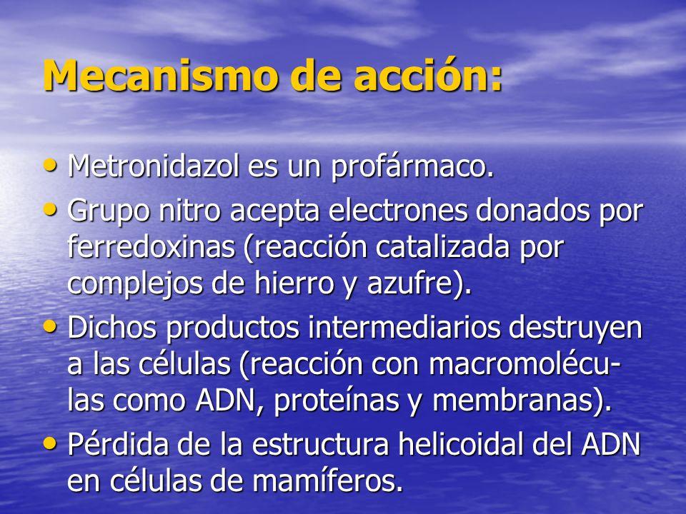 Mecanismo de acción: Metronidazol es un profármaco. Metronidazol es un profármaco. Grupo nitro acepta electrones donados por ferredoxinas (reacción ca