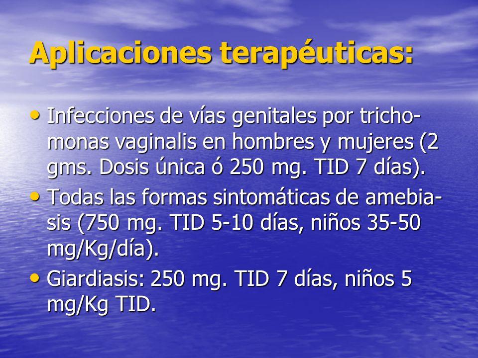 Aplicaciones terapéuticas: Infecciones de vías genitales por tricho- monas vaginalis en hombres y mujeres (2 gms. Dosis única ó 250 mg. TID 7 días). I