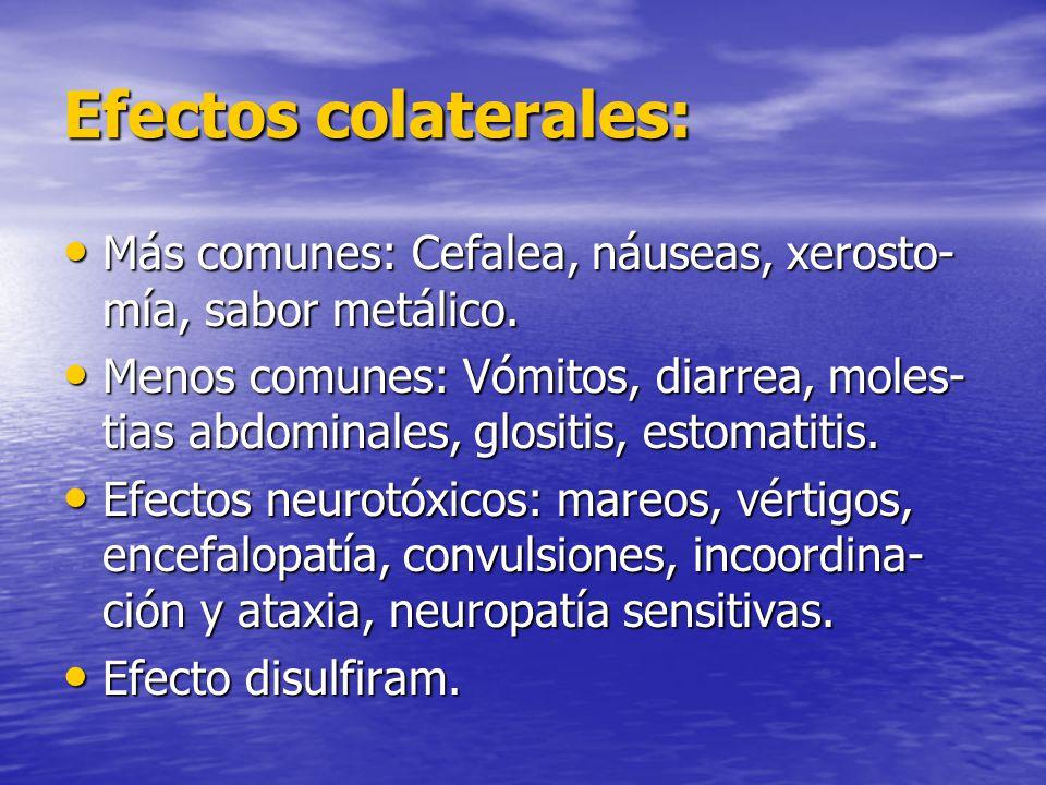 Efectos colaterales: Más comunes: Cefalea, náuseas, xerosto- mía, sabor metálico. Más comunes: Cefalea, náuseas, xerosto- mía, sabor metálico. Menos c