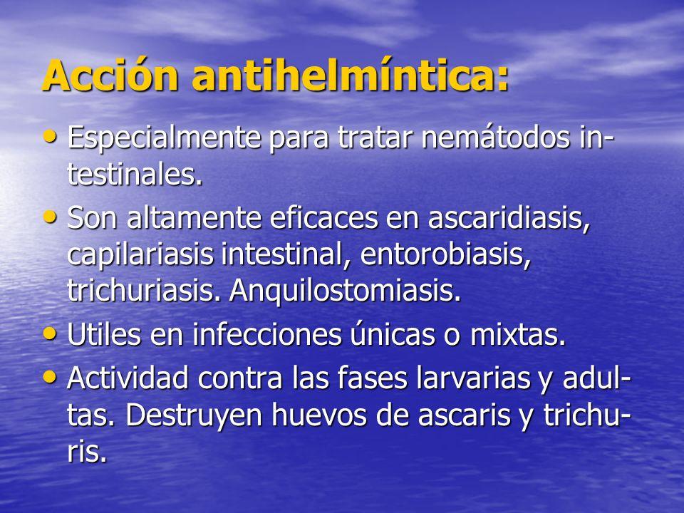 Acción antihelmíntica: Especialmente para tratar nemátodos in- testinales. Especialmente para tratar nemátodos in- testinales. Son altamente eficaces