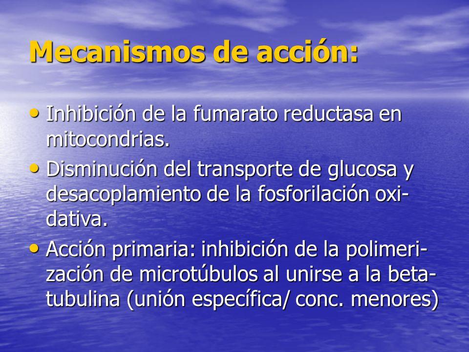 Mecanismos de acción: Inhibición de la fumarato reductasa en mitocondrias. Inhibición de la fumarato reductasa en mitocondrias. Disminución del transp