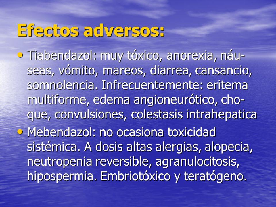 Efectos adversos: Tiabendazol: muy tóxico, anorexia, náu- seas, vómito, mareos, diarrea, cansancio, somnolencia. Infrecuentemente: eritema multiforme,