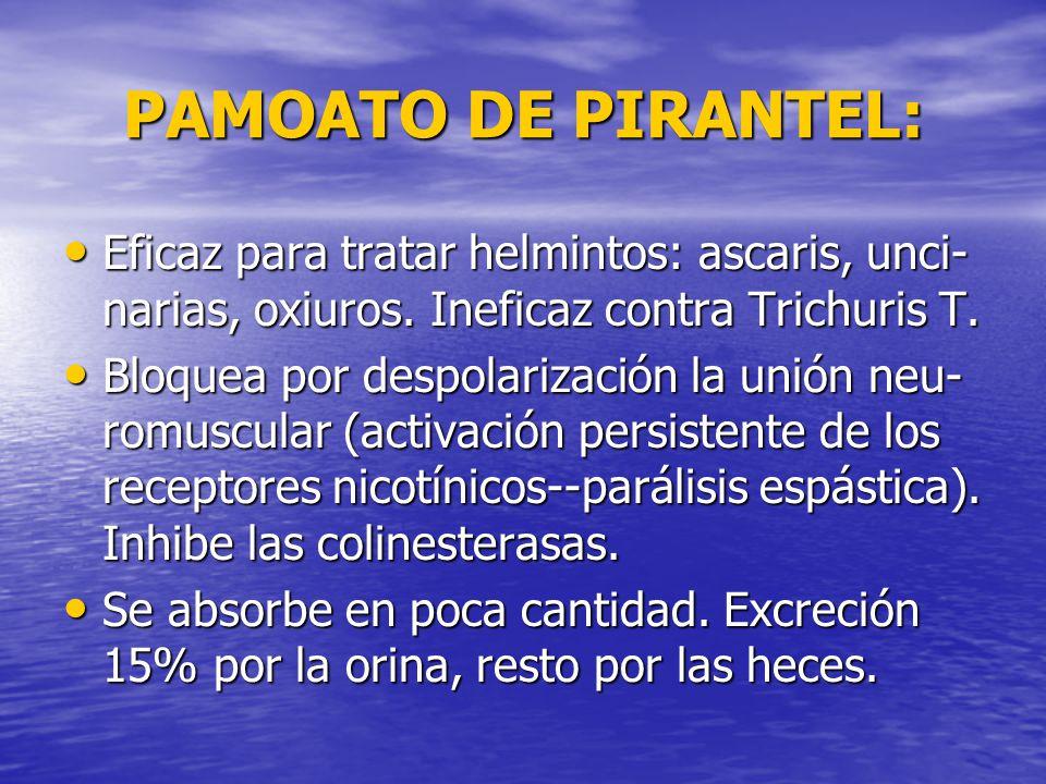 PAMOATO DE PIRANTEL: Eficaz para tratar helmintos: ascaris, unci- narias, oxiuros. Ineficaz contra Trichuris T. Eficaz para tratar helmintos: ascaris,