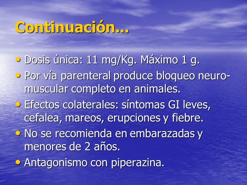 Continuación... Dosis única: 11 mg/Kg. Máximo 1 g. Dosis única: 11 mg/Kg. Máximo 1 g. Por vía parenteral produce bloqueo neuro- muscular completo en a