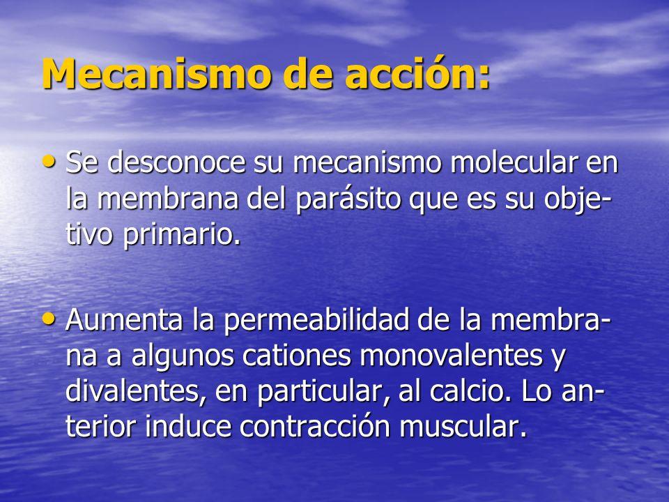 Mecanismo de acción: Se desconoce su mecanismo molecular en la membrana del parásito que es su obje- tivo primario. Se desconoce su mecanismo molecula
