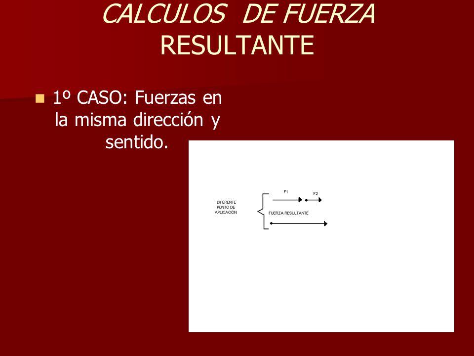 CALCULOS DE FUERZA RESULTANTE 1º CASO: Fuerzas en la misma dirección y sentido.