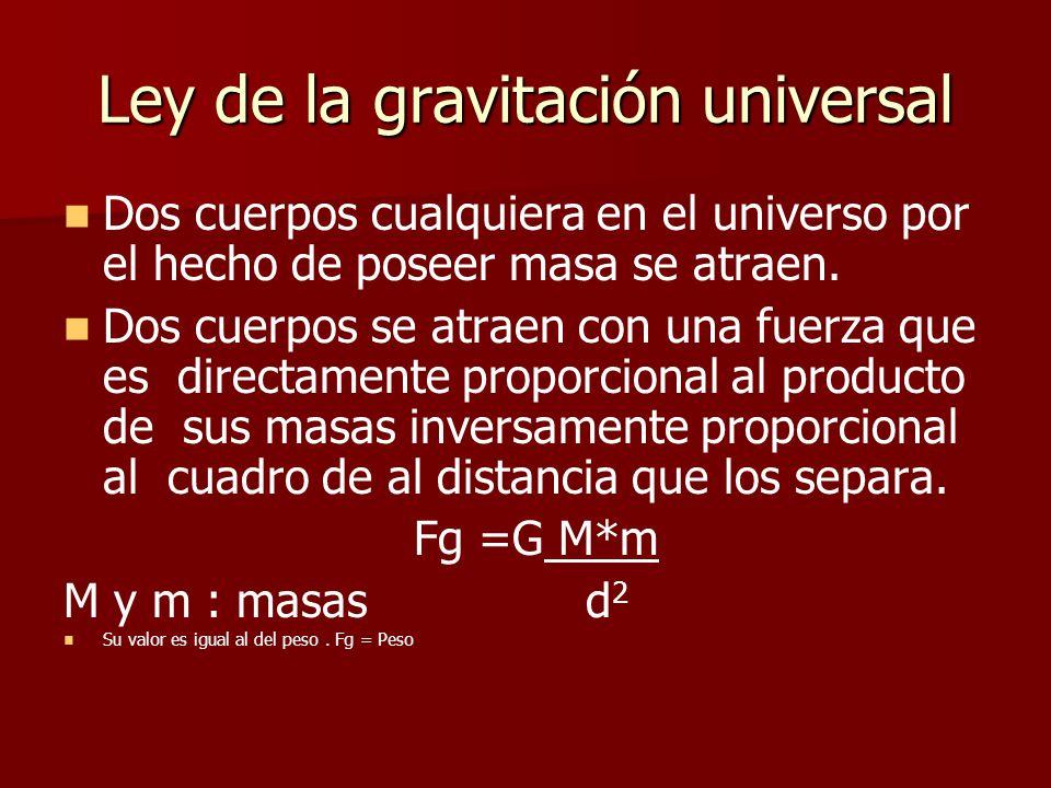 Ley de la gravitación universal Dos cuerpos cualquiera en el universo por el hecho de poseer masa se atraen.