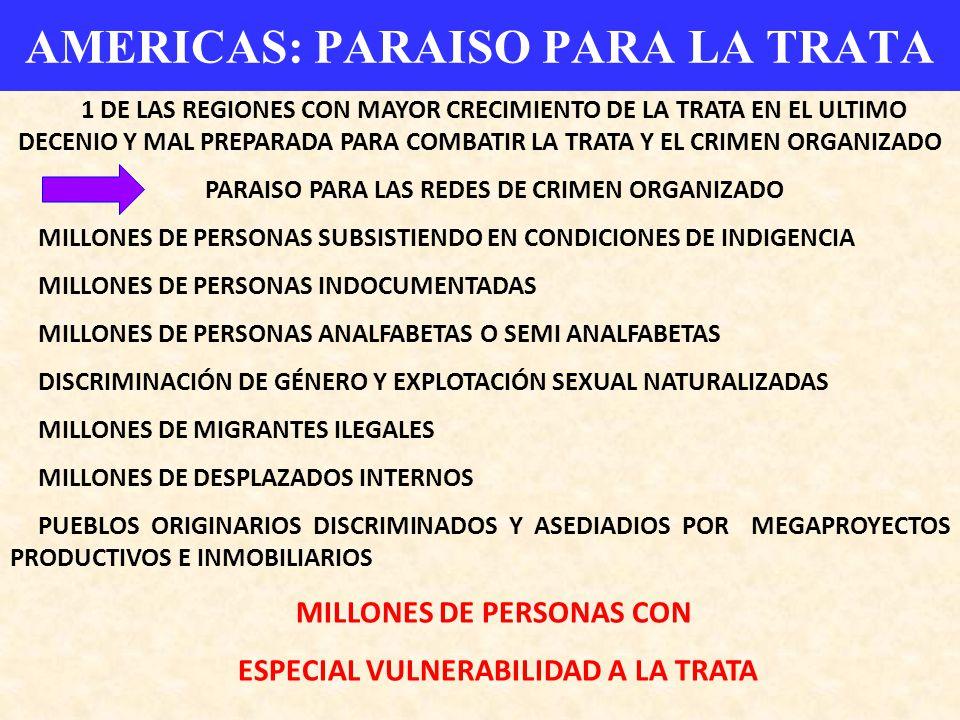 AMERICAS: PARAISO PARA LA TRATA 1 DE LAS REGIONES CON MAYOR CRECIMIENTO DE LA TRATA EN EL ULTIMO DECENIO Y MAL PREPARADA PARA COMBATIR LA TRATA Y EL C