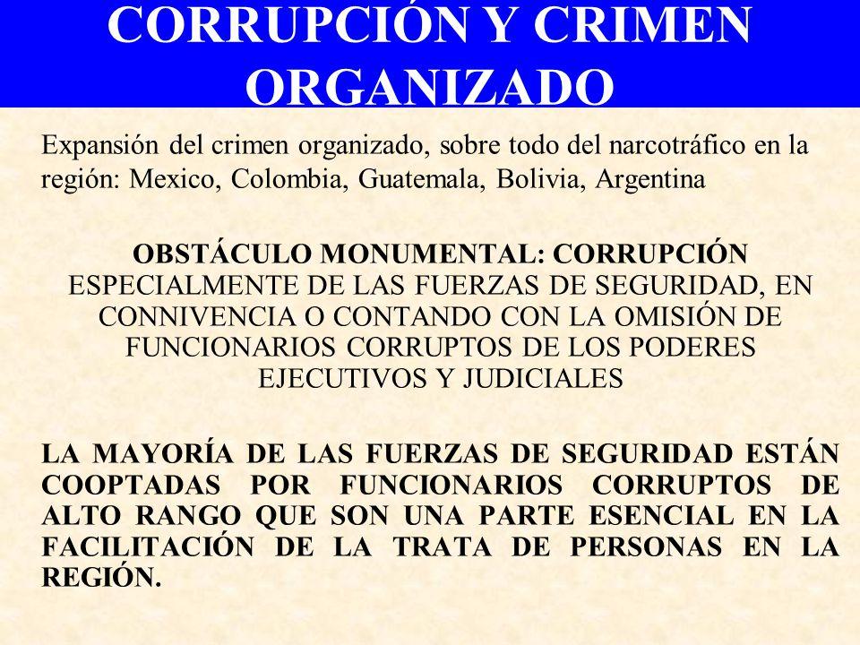 CORRUPCIÓN Y CRIMEN ORGANIZADO Expansión del crimen organizado, sobre todo del narcotráfico en la región: Mexico, Colombia, Guatemala, Bolivia, Argent