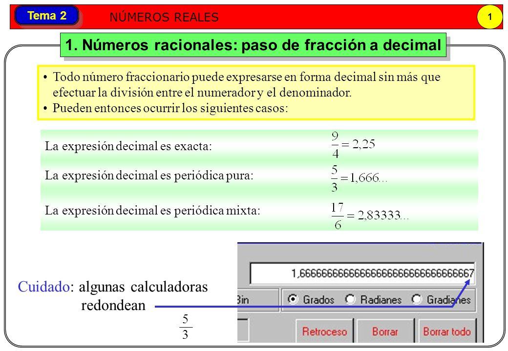 Números reales NÚMEROS REALES 2 Tema 2 EJEMPLOS Pasar a decimal 3/4Pasar a decimal 14/11Pasar a decimal 13/6 0,75 Decimal exacto 1,2727...