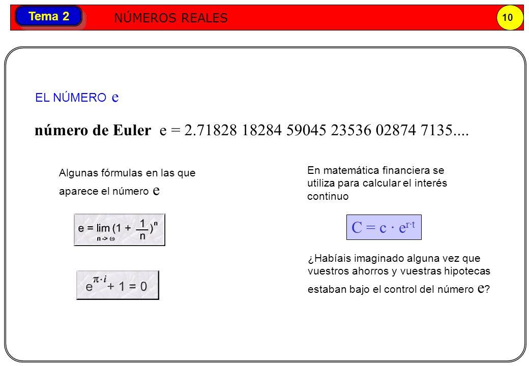 Números reales NÚMEROS REALES 10 Tema 2 número de Euler e = 2.71828 18284 59045 23536 02874 7135.... C = c · e r·t En matemática financiera se utiliza