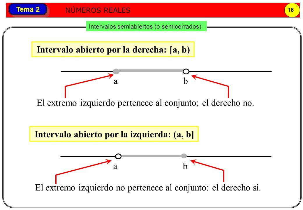 Números reales NÚMEROS REALES 16 Tema 2 Intervalos semiabiertos (o semicerrados) Intervalo abierto por la derecha: [a, b) ab Intervalo abierto por la