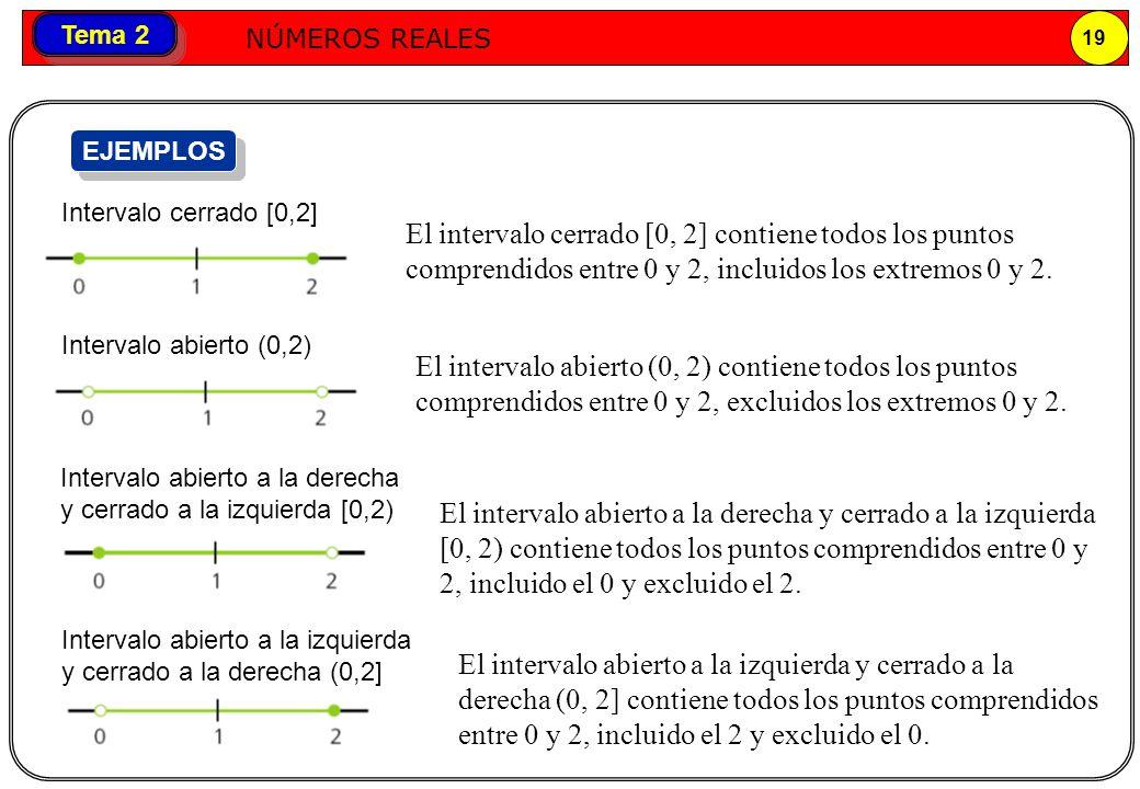 Números reales NÚMEROS REALES 19 Tema 2 El intervalo cerrado [0, 2] contiene todos los puntos comprendidos entre 0 y 2, incluidos los extremos 0 y 2.