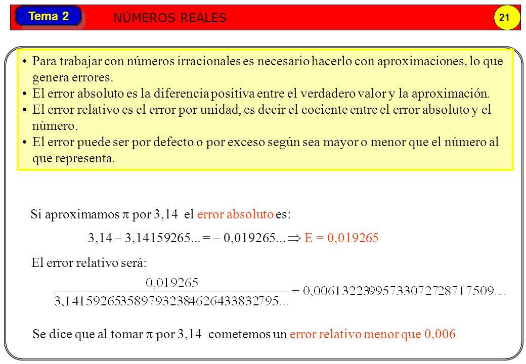 Números reales NÚMEROS REALES 21 Tema 2 Para trabajar con números irracionales es necesario hacerlo con aproximaciones, lo que genera errores. El erro