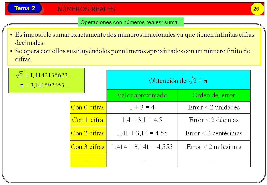 Números reales NÚMEROS REALES 26 Tema 2 Operaciones con números reales: suma Es imposible sumar exactamente dos números irracionales ya que tienen inf