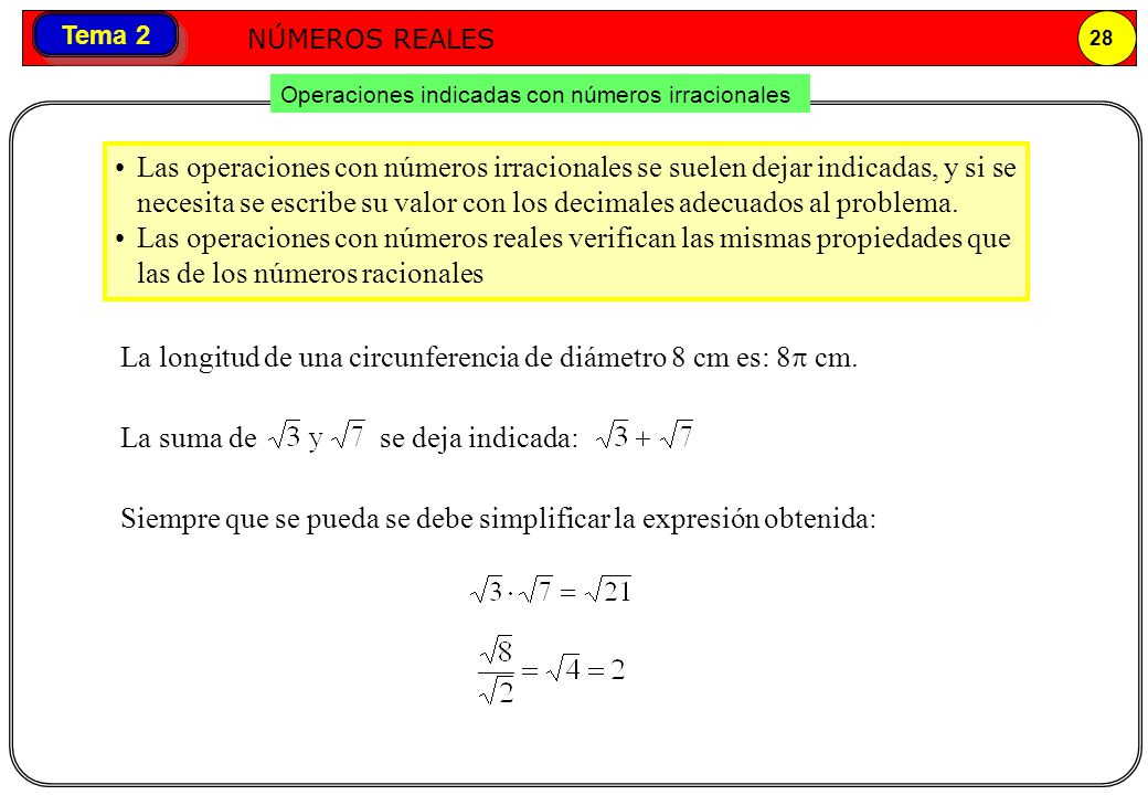Números reales NÚMEROS REALES 28 Tema 2 Operaciones indicadas con números irracionales Las operaciones con números irracionales se suelen dejar indica