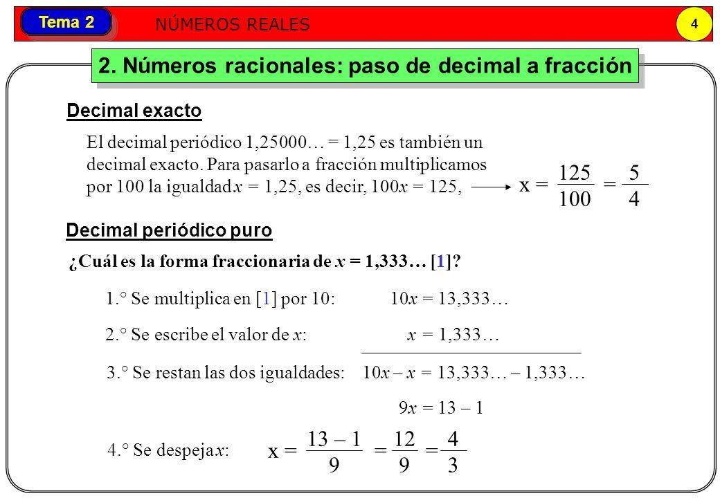Números reales NÚMEROS REALES 4 Tema 2 2. Números racionales: paso de decimal a fracción El decimal periódico 1,25000… = 1,25 es también un decimal ex