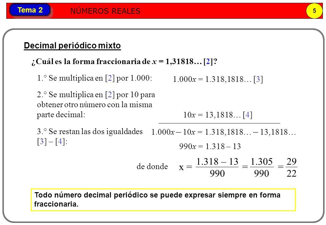 Números reales NÚMEROS REALES 5 Tema 2 Todo número decimal periódico se puede expresar siempre en forma fraccionaria. Decimal periódico mixto ¿Cuál es
