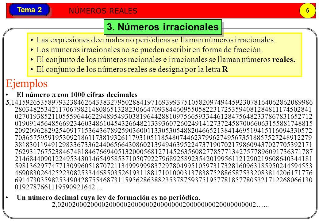 Números reales NÚMEROS REALES 6 Tema 2 Las expresiones decimales no periódicas se llaman números irracionales. Los números irracionales no se pueden e