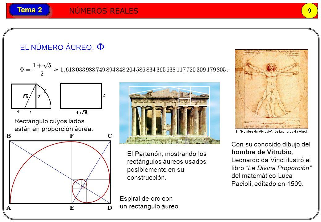 Números reales NÚMEROS REALES 9 Tema 2 El Partenón, mostrando los rectángulos áureos usados posiblemente en su construcción. Rectángulo cuyos lados es