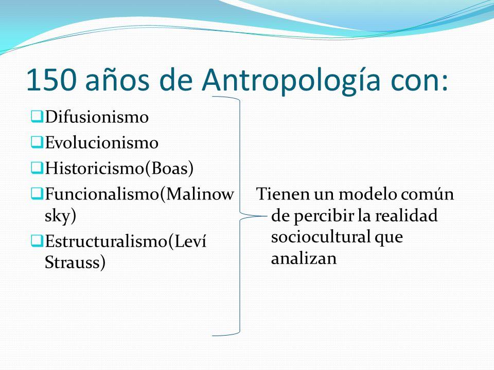 150 años de Antropología con: Difusionismo Evolucionismo Historicismo(Boas) Funcionalismo(Malinow sky) Estructuralismo(Leví Strauss) Tienen un modelo