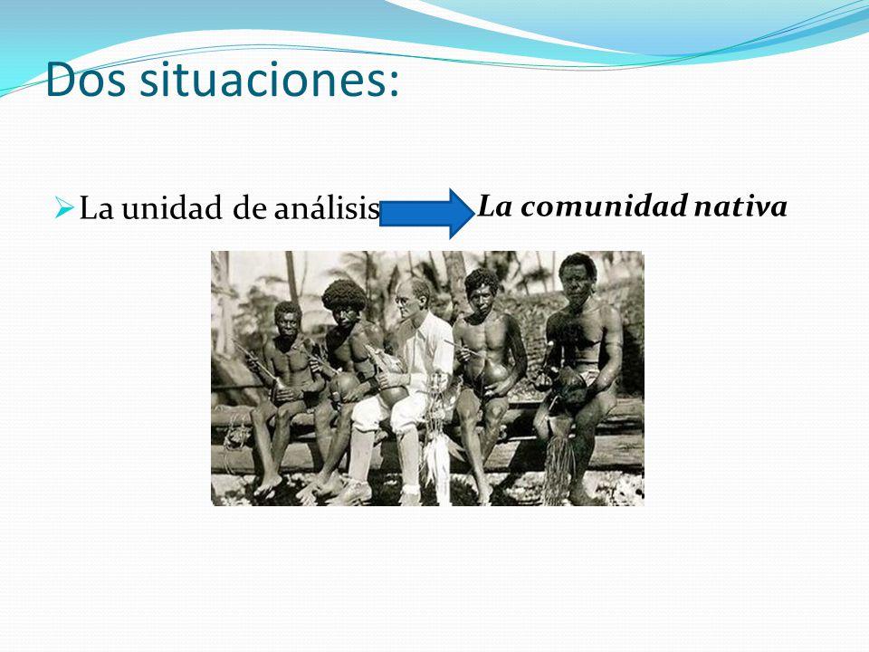 Dos situaciones: La unidad de análisis La comunidad nativa