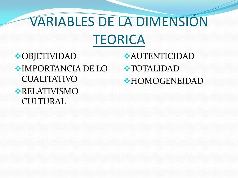 VARIABLES DE LA DIMENSIÓN TEORICA OBJETIVIDAD IMPORTANCIA DE LO CUALITATIVO RELATIVISMO CULTURAL AUTENTICIDAD TOTALIDAD HOMOGENEIDAD