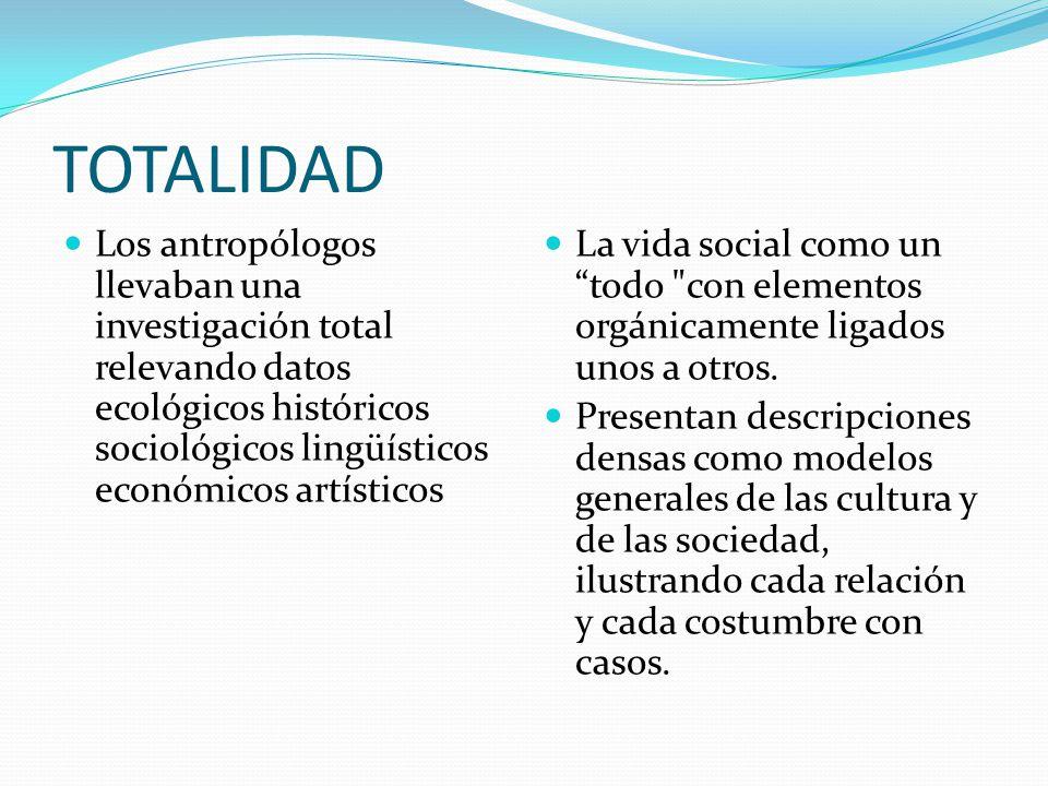TOTALIDAD Los antropólogos llevaban una investigación total relevando datos ecológicos históricos sociológicos lingüísticos económicos artísticos La v