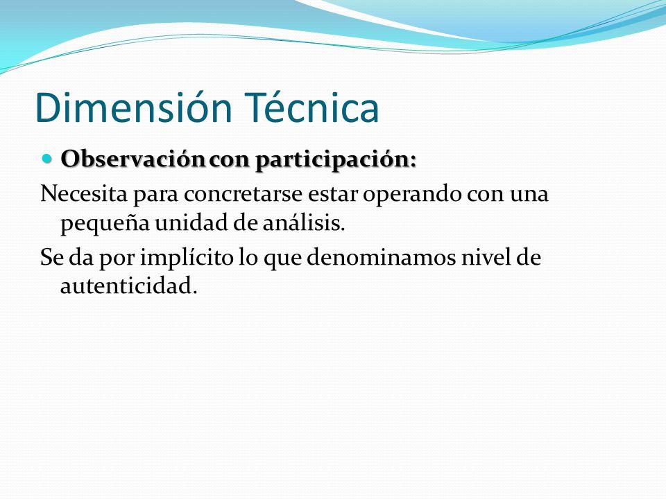 Dimensión Técnica Observación con participación: Observación con participación: Necesita para concretarse estar operando con una pequeña unidad de aná