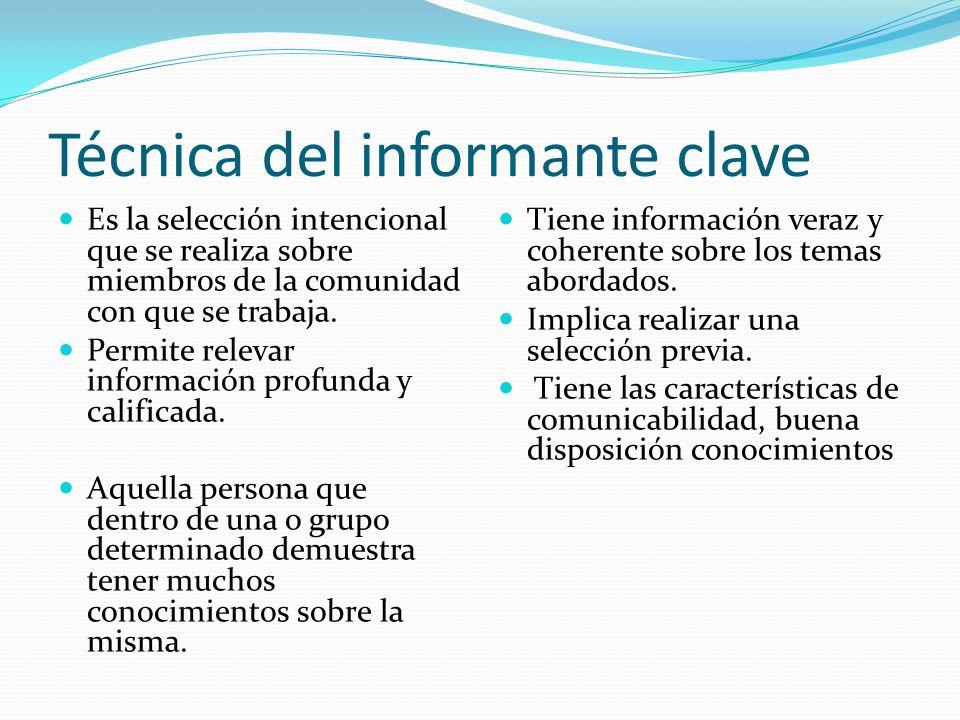 Técnica del informante clave Es la selección intencional que se realiza sobre miembros de la comunidad con que se trabaja. Permite relevar información