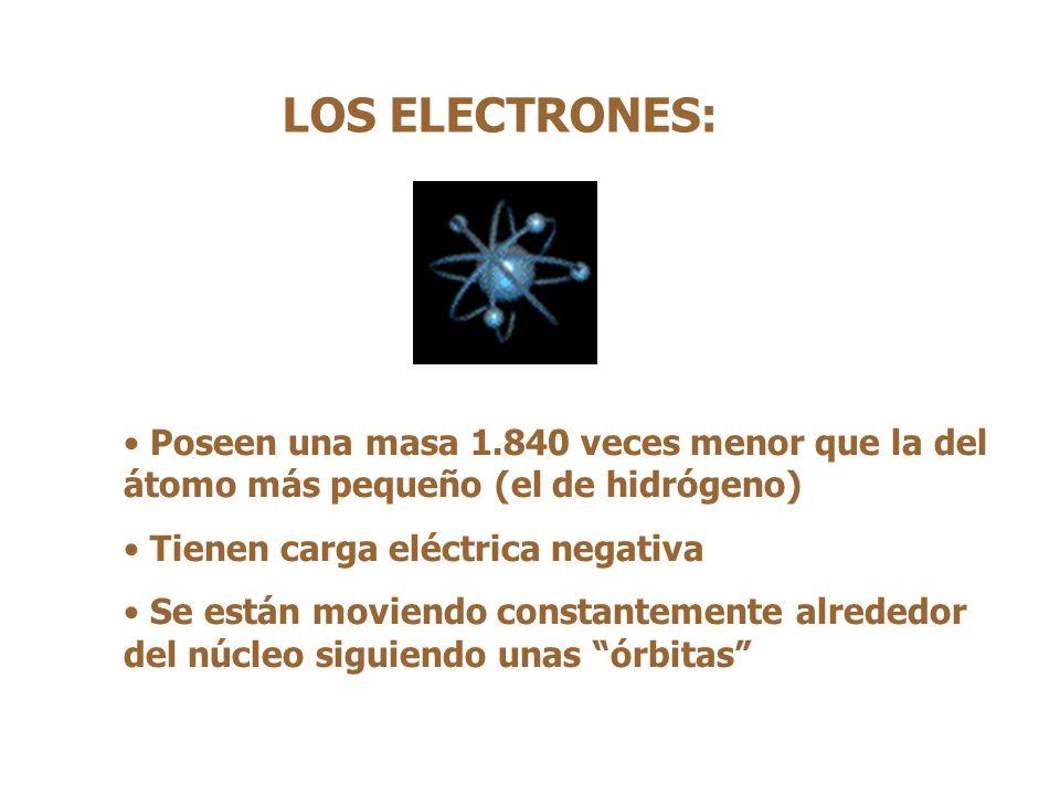 LOS ELECTRONES: Poseen una masa 1.840 veces menor que la del átomo más pequeño (el de hidrógeno) Tienen carga eléctrica negativa Se están moviendo constantemente alrededor del núcleo siguiendo unas órbitas